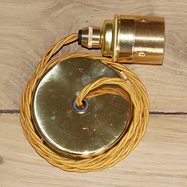 Edison Screw Pendant Set (1 Metre) With Brass Ceiling Rose
