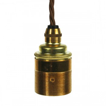 Edison Screw Pendant Set (1 Metre) with Brass Ceiling Rose, Bronze Braided Fabric Cable