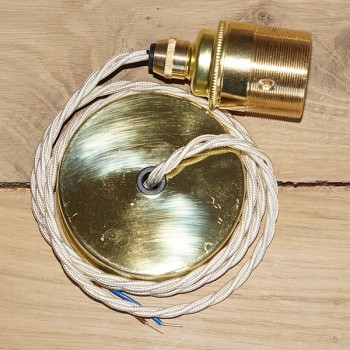 Edison Screw Pendant Set (1 Metre) with Brass Ceiling Rose, Cream Braided Fabric Cable