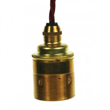 Edison Screw Pendant Set (1 Metre) with Brass Ceiling Rose, Burgundy Braided Fabric Cable