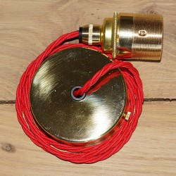 Edison Screw Pendant Set (1 Metre) with Brass Ceiling Rose, Poppy Red Braided Fabric Cable