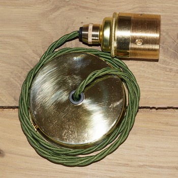Edison Screw Pendant Set (1 Metre) with Brass Ceiling Rose, Cyprus Green Braided Fabric Cable