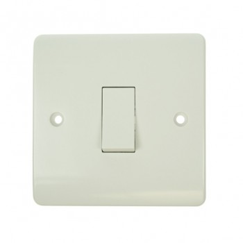 Click Mode Single 10amp 1 Way White PVC Switch