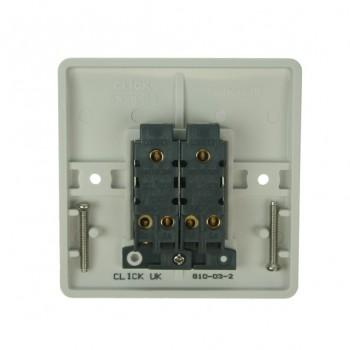 Click Mode Double 10amp 2 Way White PVC Switch