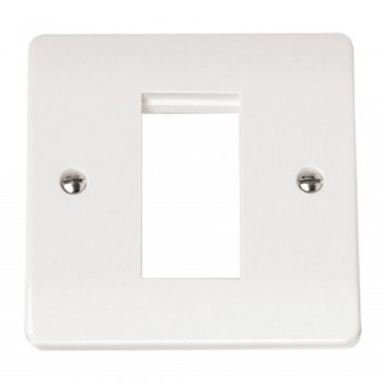 Click Mode 1 Gang Single Aperture White PVC Plate for Media Modules