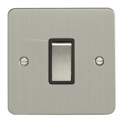 Eurolite Enhance Flat Plate Satin Stainless 1 Gang 10A 2 Way Switch with Matching Rocker and Black Insert