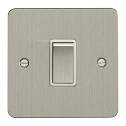 Eurolite Enhance Flat Plate Satin Stainless 1 Gang 10A 2 Way Switch with Matching Rocker and White Insert