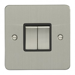 Eurolite Enhance Flat Plate Satin Stainless 2 Gang 10A 2 Way Switch with Matching Rocker and Black Insert