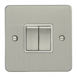 Eurolite Enhance Flat Plate Satin Stainless 2 Gang 10A 2 Way Switch with Matching Rocker and White Insert