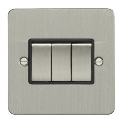 Eurolite Enhance Flat Plate Satin Stainless 3 Gang 10A 2 Way Switch with Matching Rocker and Black Insert