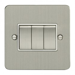 Eurolite Enhance Flat Plate Satin Stainless 3 Gang 10A 2 Way Switch with Matching Rocker and White Insert