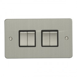 Eurolite Enhance Flat Plate Satin Stainless 4 Gang 10A 2 Way Switch with Matching Rocker and Black Insert