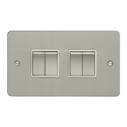 Eurolite Enhance Flat Plate Satin Stainless 4 Gang 10A 2 Way Switch with Matching Rocker and White Insert