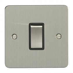 Eurolite Enhance Flat Plate Satin Stainless 1 Gang Intermediate Switch with Matching Rocker and Black Insert