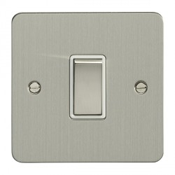 Eurolite Enhance Flat Plate Satin Stainless 1 Gang Intermediate Switch with Matching Rocker and White Insert