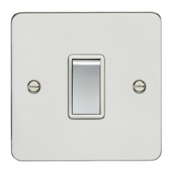 Eurolite Flat Plate FPSS1SW-PSW Polished Stainless 1 Gang 10amp 2way Switch with Matching Rocker and White Insert