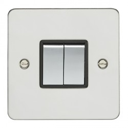 Eurolite Flat Plate FPSS2SW-PSB Polished Stainless 2 Gang 10amp 2way Switch with Matching Rocker and Black Insert