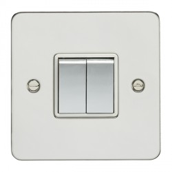Eurolite Enhance Flat Plate Polished Stainless 2 Gang 10A 2 Way Switch with Matching Rocker and White Insert