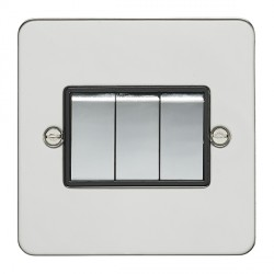 Eurolite Enhance Flat Plate Polished Stainless 3 Gang 10A 2 Way Switch with Matching Rocker and Black Ins...
