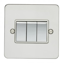 Eurolite Enhance Flat Plate Polished Stainless 3 Gang 10A 2 Way Switch with Matching Rocker and White Insert