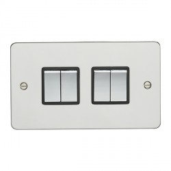 Eurolite Enhance Flat Plate Polished Stainless 4 Gang 10A 2 Way Switch with Matching Rocker and Black Ins...