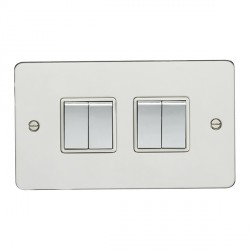 Eurolite Enhance Flat Plate Polished Stainless 4 Gang 10A 2 Way Switch with Matching Rocker and White Insert
