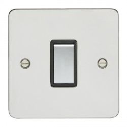 Eurolite Enhance Flat Plate Polished Stainless 1 Gang Intermediate Switch with Matching Rocker and Black ...