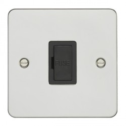 Eurolite Enhance Flat Plate Polished Stainless 13A Unswitched Fuse Spur with Black Insert