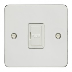 Eurolite Enhance Flat Plate Polished Stainless 13A Unswitched Fuse Spur with White Insert