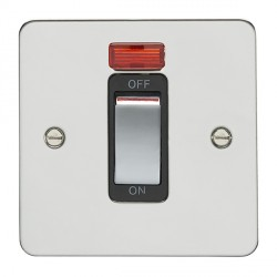 Eurolite Enhance Flat Plate Polished Stainless 1 Gang 45A DP Cooker Switch and Neon with Matching Rocker and Black Insert