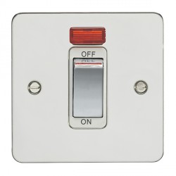 Eurolite Enhance Flat Plate Polished Stainless 1 Gang 45A DP Cooker Switch and Neon with Matching Rocker and White Insert