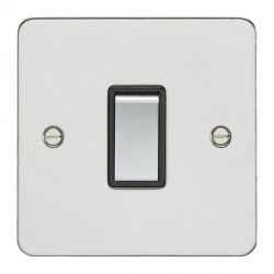 Eurolite Flat Plate FPSS1SW-PSB Polished Stainless 1 Gang 10amp 2way Switch with Matching Rocker and Black Insert