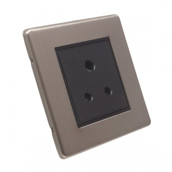 Eurolite Low Profile Concealed Fix Satin Nickel 1 Gang 5 Amp Unswitched Socket with Black Insert