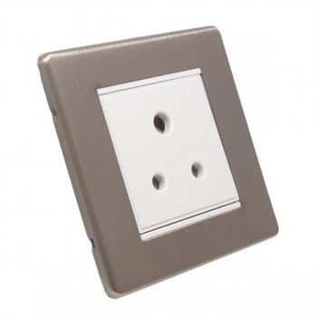 Eurolite Low Profile Concealed Fix Satin Nickel 1 Gang 5 Amp Unswitched Socket with White Insert