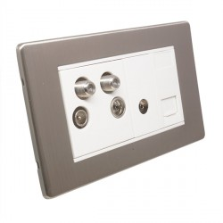 Eurolite Low Profile Concealed Fix Satin Nickel 2 Gang Sky Plus with White Insert