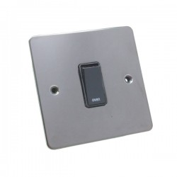 Eurolite Enhance Flat Plate Black Nickel 1 Gang 20A DP Engraved Appliance Switch with Black Insert