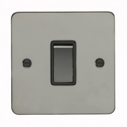 Eurolite Enhance Flat Plate Black Nickel 1 Gang 10A 2 Way Switch with Matching Rocker and Black Insert