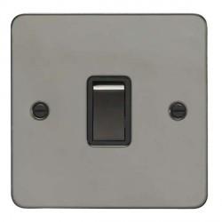 Eurolite Flat Plate Black Nickel 1 Gang 20 Amp DP Switch with Matching Rocker and Black Insert