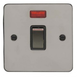 Eurolite Enhance Flat Plate Black Nickel 1 Gang 20A DP Switch and Neon with Matching Rocker and Black Ins...