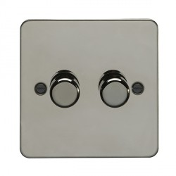 Eurolite Enhance Flat Plate Black Nickel 2 Gang 400W Dimmer with Matching Knob