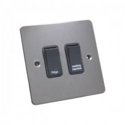 Eurolite Flat Plate Black Nickel 2 Gang 20 Amp DP Appliance Switch with Black Insert