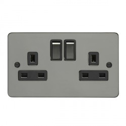 Eurolite Enhance Flat Plate Black Nickel 2 Gang 13A DP Switched Socket with Matching Rocker and Black Ins...