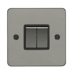 Eurolite Enhance Flat Plate Black Nickel 2 Gang 10A 2 Way Switch with Matching Rocker and Black Insert