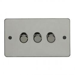 Eurolite Enhance Flat Plate Black Nickel 3 Gang 400W Dimmer with Matching Knob