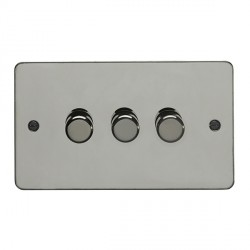 Eurolite Enhance Flat Plate Black Nickel 3 Gang 250W LED Dimmer with Matching Knob