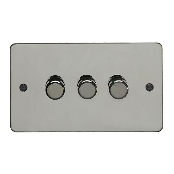 eurolite flat plate black nickel 3 gang 250w led dimmer with matching knob at uk electrical. Black Bedroom Furniture Sets. Home Design Ideas