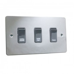Eurolite Enhance Flat Plate Black Nickel 3 Gang 20A DP Engraved Appliance Switch with Black Insert