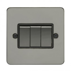 Eurolite Enhance Flat Plate Black Nickel 3 Gang 10A 2 Way Switch with Matching Rocker and Black Insert