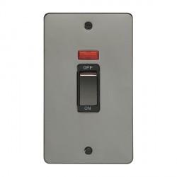 Eurolite Enhance Flat Plate Black Nickel 2 Gang 45A Vertical Cooker Switch and Neon with Matching Rocker ...