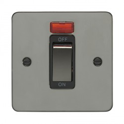 Eurolite Enhance Flat Plate Black Nickel 1 Gang 45A Cooker Switch and Neon with Matching Rocker and Black...